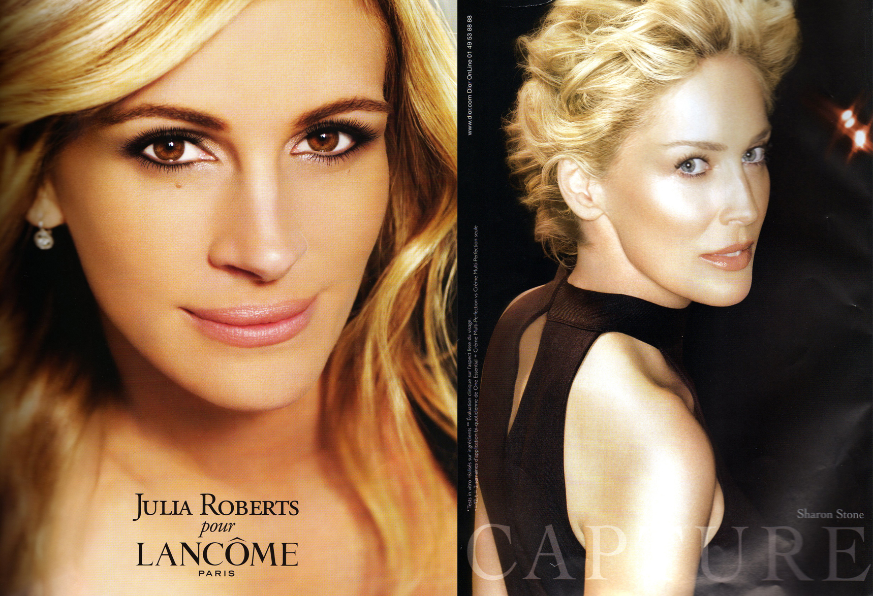 Julia Roberts for Lancôme and Sharon Stone for Dior