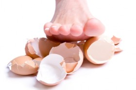 Stepped on eggshells