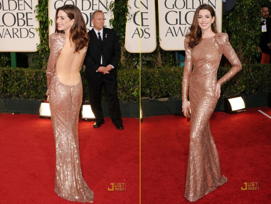 Anne Hathaway 68th Annual Golden Globe Awards. Anne Hathaway in Armani Privé