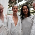 Alexander Wang backstage with models © Betty Sze