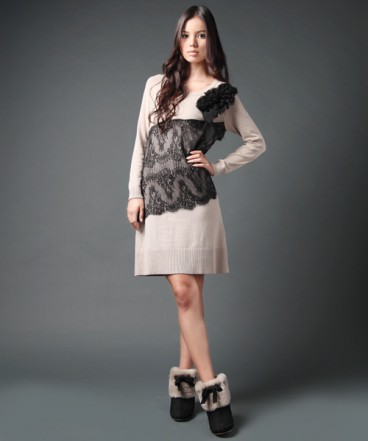 Double Standard Clothing lace embroidered knit dress zozotown
