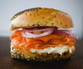 Bagel, Lox, Cream Cheese and Raw Onion