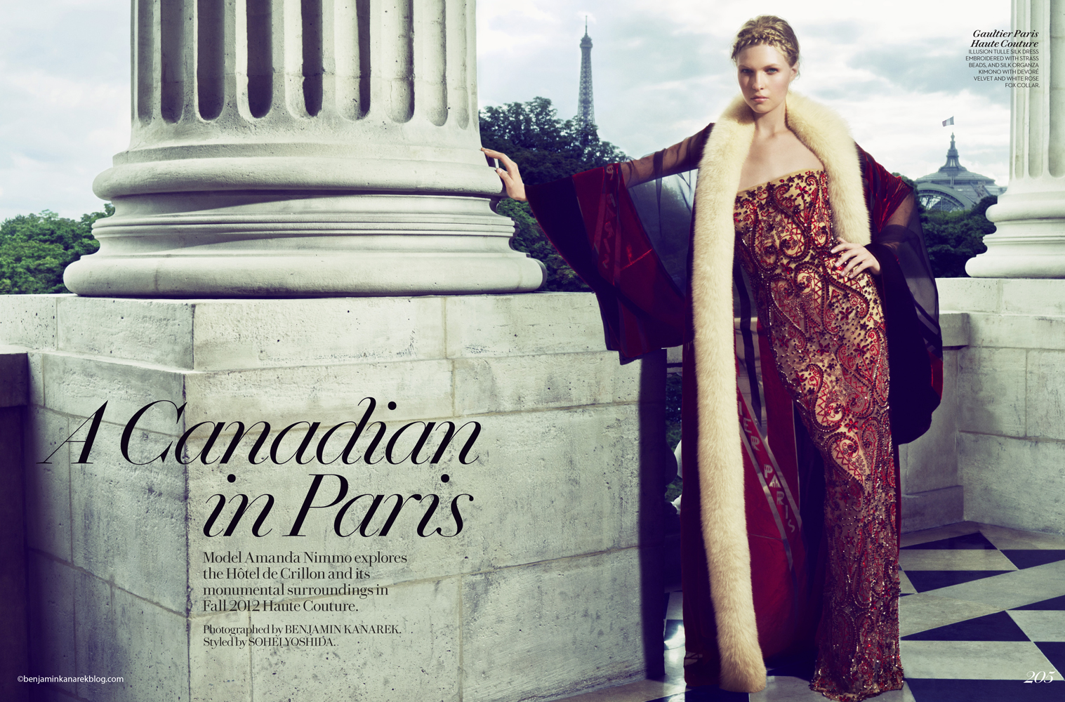 """A Canadian in Paris"" with Amanda Nimmo in Haute Couture for Fashion Magazine © Benjamin Kanarek"