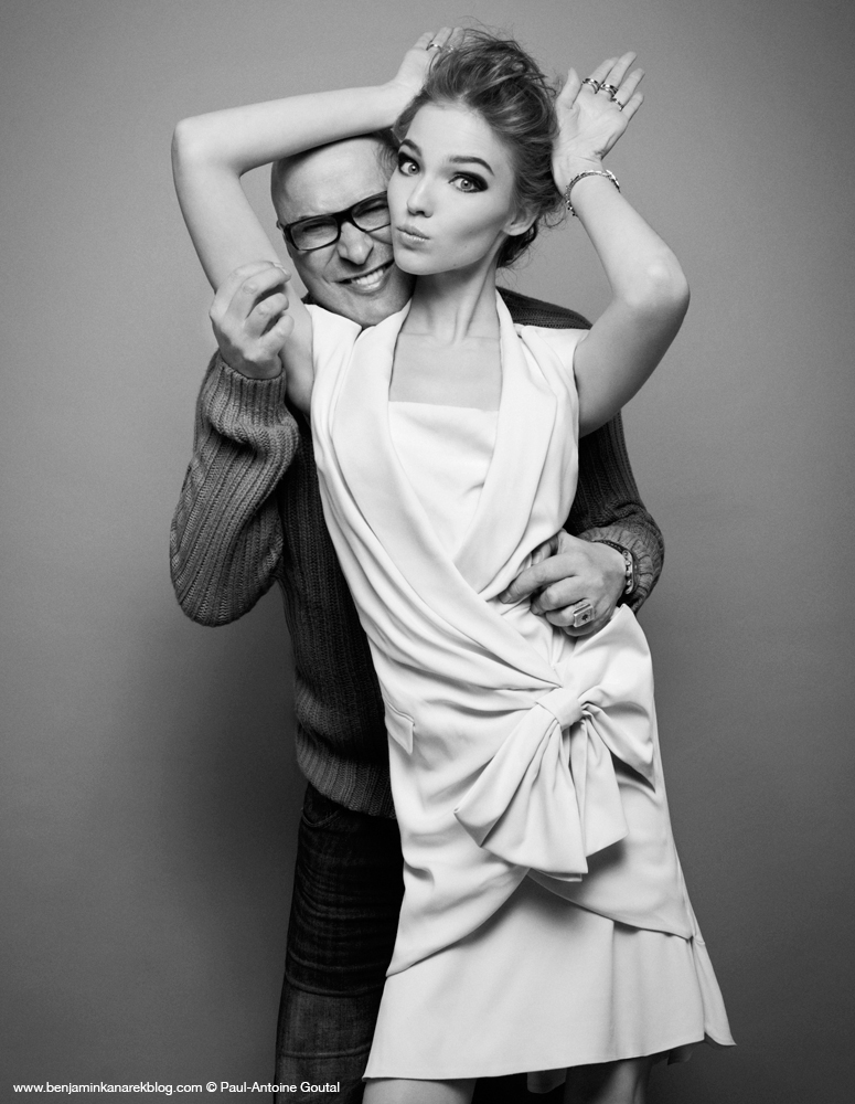"Benjamin Kanarek and Sasha Luss clowning around on the set of ""Ruffles"" for Harper's BAZAAR © Paul-Antoine Goutal"