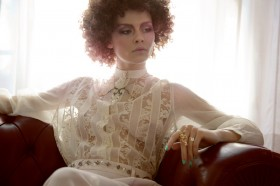 Milene © Debora Barnaba  Lace t-shirt and silk pants by Roberto Fragata Necklace and rings by Terry di Rienzo