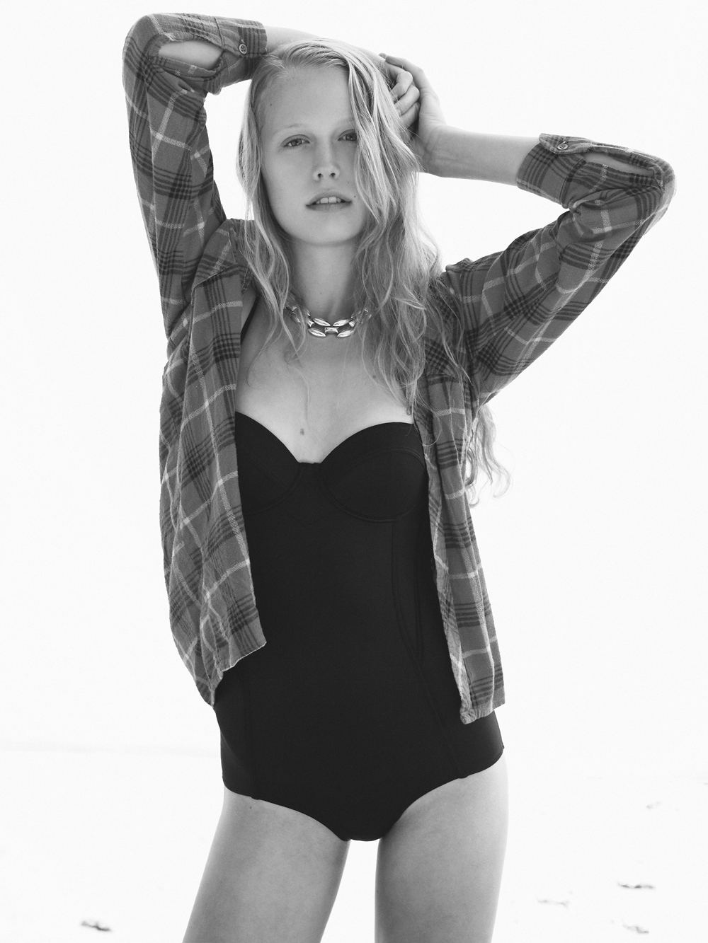 Threesome © Jennifer Dickinson Bathing Suit H&M Flannel shirt and jewelry vintage