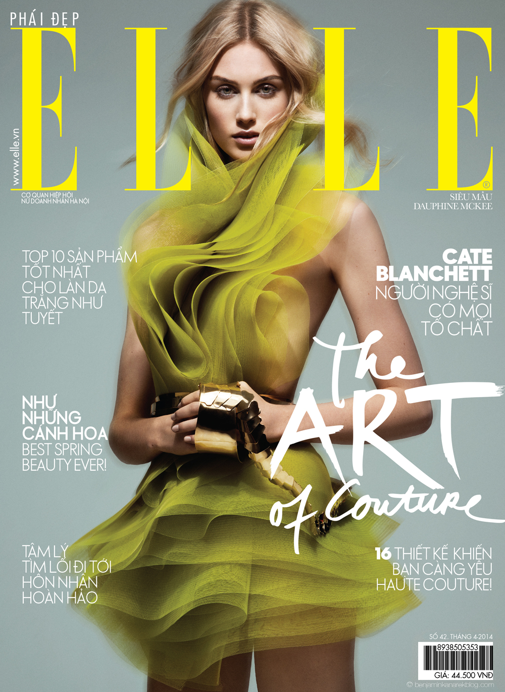 Cover with Dauphine McKee in Alexandre Vauthier Couture © Benjamin Kanarek for ELLE Vietnam April 2014