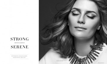 Mischa Barton wearing a sweater by ACNE, necklace by LIGIA DIAS, earring by GIVENCHY © Benjamin Kanarek