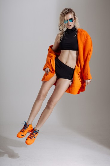 Beth Richards swim suit, Zara coat, Nike sneakers, Forever21 shades, Topshop earrings © Kale J. Friesen