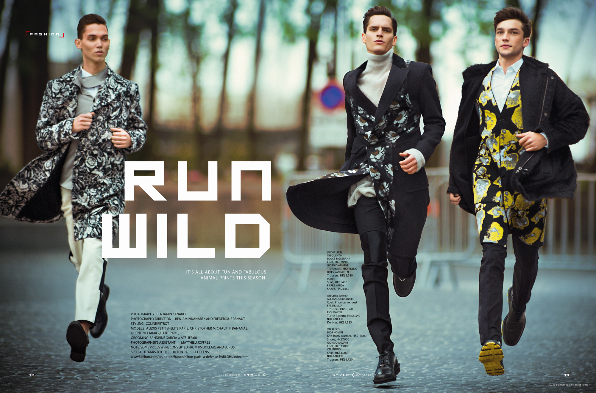 "Quentin Lejarre, Christopher Michaut and and Alexis Petit in ""Run Wild"" © Benjamin Kanarek"